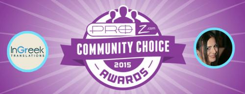 3rd place for InGreek Translations into ProZ.com community choice awards 2015